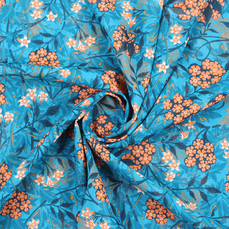 Blue Orange Flower Georgette Silk Fabric-15096